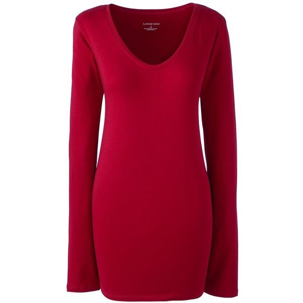 Lands' End Women's Petite Jersey Sleep Tee (33 CAD) ❤ liked on Polyvore featuring intimates, sleepwear, nightgowns, red, petite nightgown, petite sleepwear, lands end sleepwear, lands end nightgown and red jersey