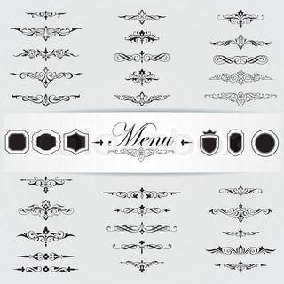 Kalligrafi design elementer side dekoration