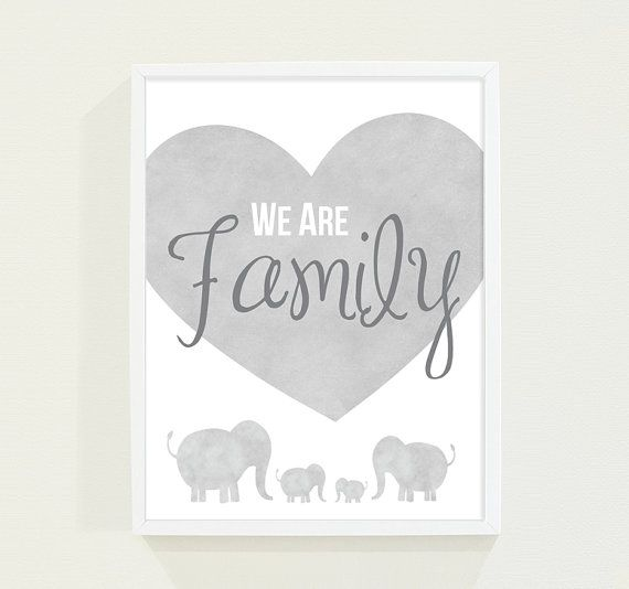 Gray Watercolor Elephant Family  Boy's Room Nursery by fieldtrip, $18.00