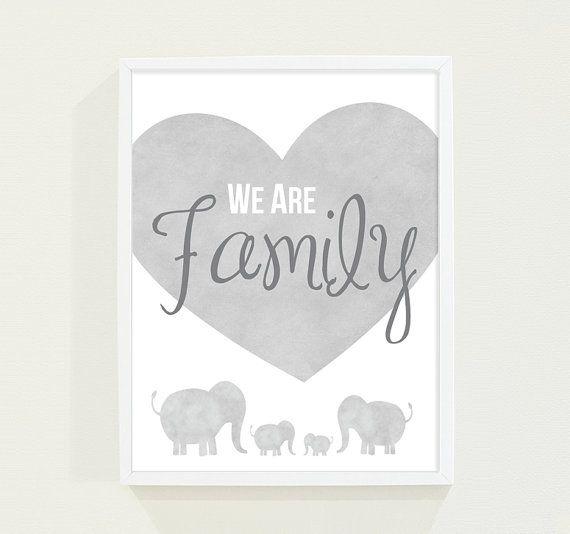 Gray Watercolor Elephant Family  Boy's Room Nursery by fieldtrip, $18.00