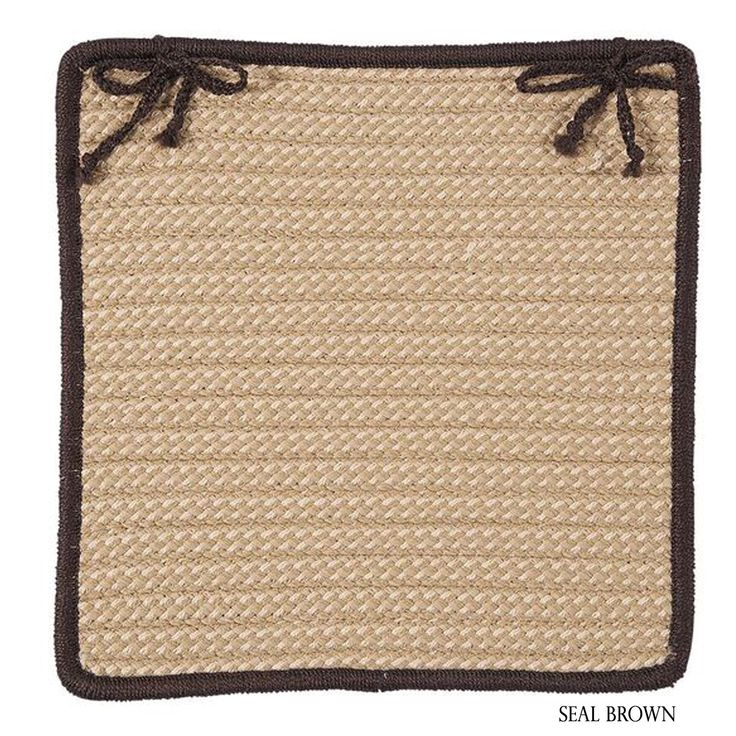 Colonial Mills Textured Accent Indoor/Outdoor Chair Pads Set-4 (Brown/Tan/Multi) (Synthetic Fiber, Border)