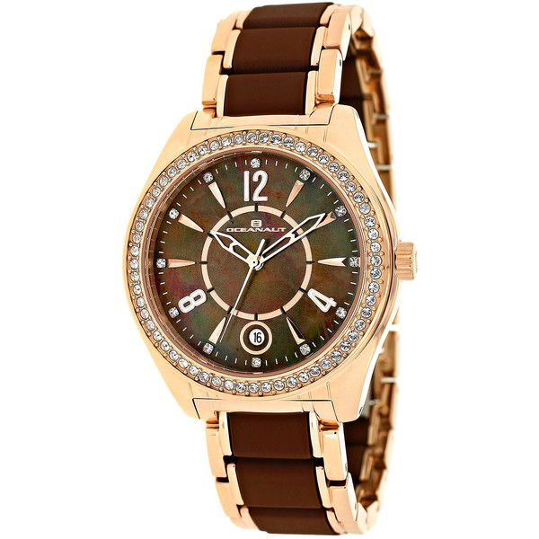 Oceanaut Pearl Womens Brown Mother-of-Pearl Dial and Rose-Tone... ($239) ❤ liked on Polyvore featuring jewelry, watches, oceanaut, pearl watch bracelet, pearl dial watches, pearl jewelry and brown watches