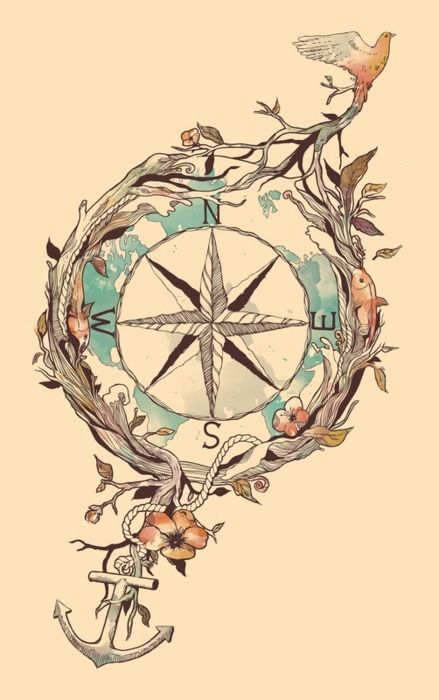 could be a cool watercolor tattoo, would remove the fishes, change the type of bird, and instead of an anchor, a musical note, and add a vine plant