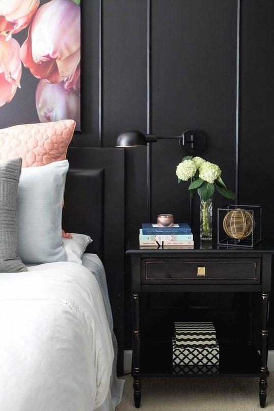 Стильная женская спальня в черном - Дизайн интерьеров | Идеи вашего дома | Lodgers