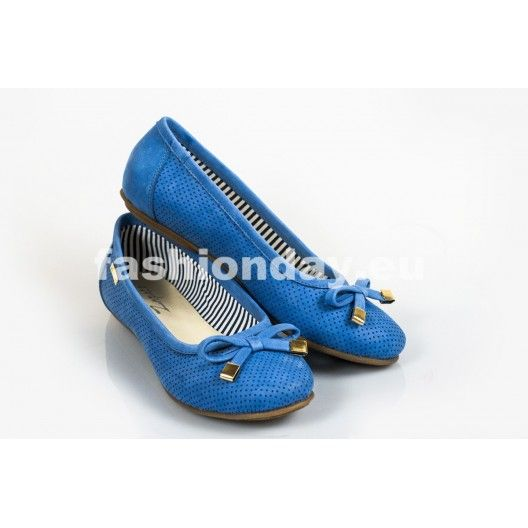 Dámske kožené balerínky dierkované modré DT240 - fashionday.eu