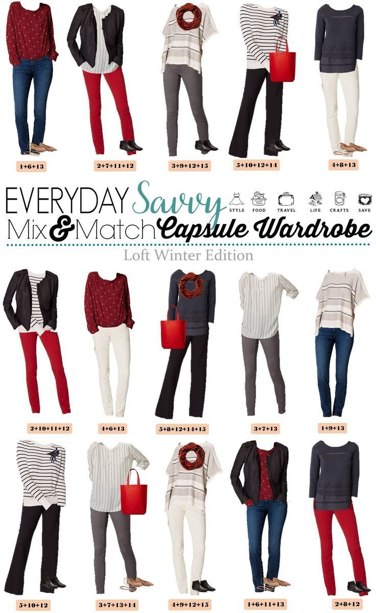 Check out this mini loft winter capsule wardrobe with both casual and a bit more dressy mix & match outfits. This makes looking great easy and affordable. via @everydaysavvy