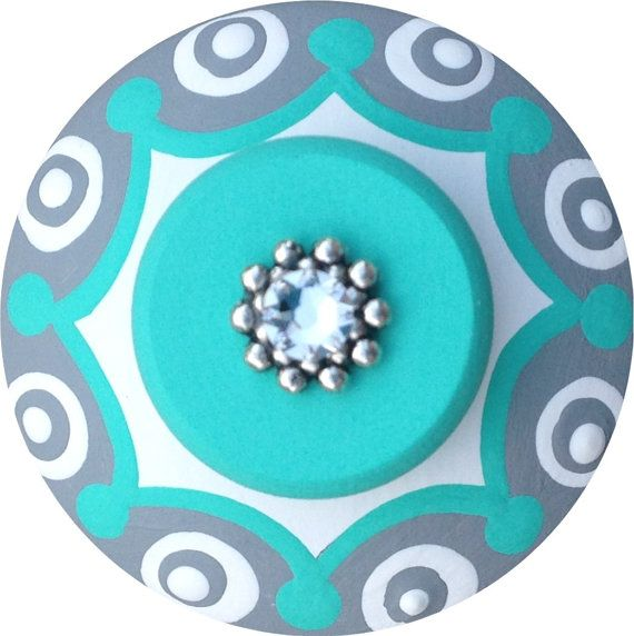Turquoise Grey Knobs Jeweled Knobs Hand by LisaEverettDesigns