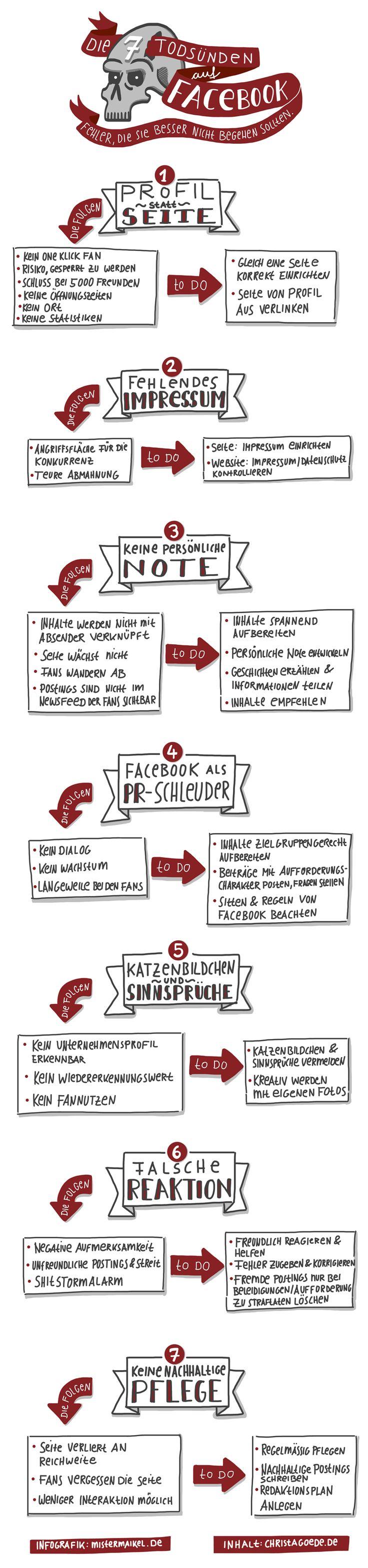 7 Todsünden auf Facebook - Infografik  http://www.christagoede.de/infografik-die-7-todsuenden-auf-facebook/