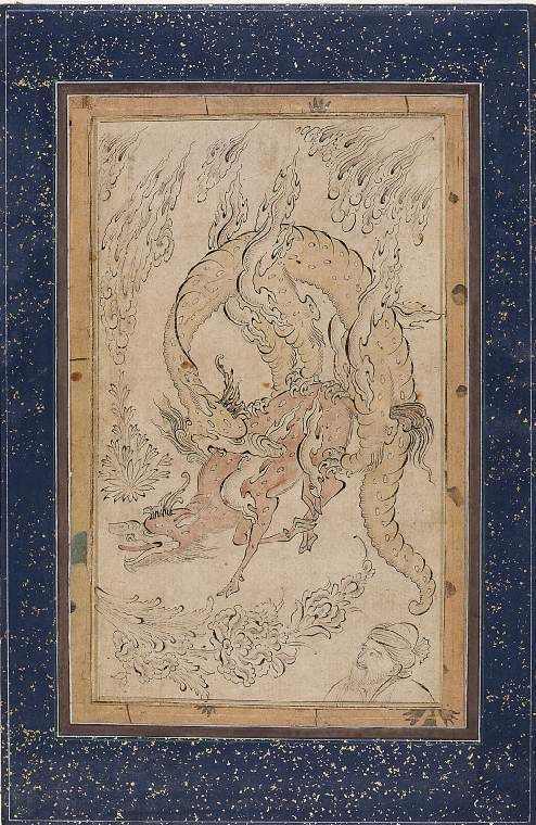 A man watching a kylin being devoured by a dragon  Maker: Allah, Inayat; miniaturist; perhaps by; Persian school, op. early 17th C.  Category: miniature (painting)  School/Style: Persian  Period: early 17th Century  Technique: watercolour  Material(s): watercolour; medium ink; medium laid paper; support  Technique Description: watercolour with pen and ink on laid paper  Dimension(s): height, 197, mm width, 116, mm Fitzwilliam Museum
