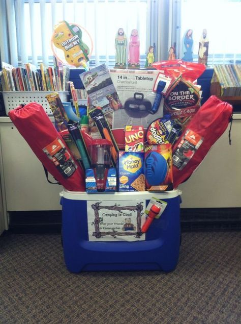 Smaller for Camping gift basket idea for school silent auction: