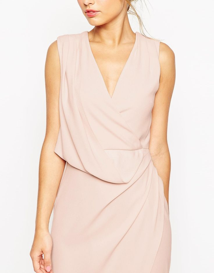 ASOS WEDDING Wrap Drape Midi Dress in nude AU$116.02