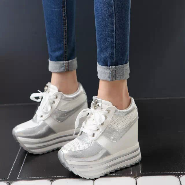 Горячие продаж новых 2016 осень черный белый скрытый танкетке свободного покроя обувь женские белый лифт   каблуки сапоги для женщин купить на AliExpress