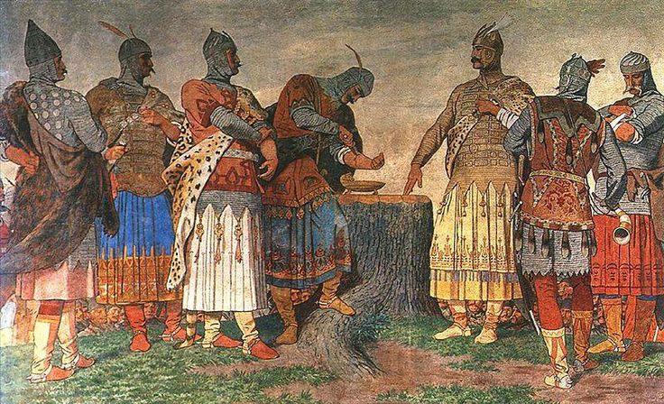 """Székely Bertalan (1835-1910) - A vérszerződés - Városháza freskója - Kecskemét - 1902.  """"A magyar nemzet a győztes nemzetek közé tartozik, mert ezer éve van, és ez győzelem. A magyar helyzetből, országunk elhelyezkedéséből, a bennünket körülvevő népek történelméből, a földrajzi adottságainkból sokkal logikusabban következne az, amit úgy nevezhetünk, hogy felszívódás, beolvadás, a német vagy szláv világban való feloldódás...""""  Orbán Viktor"""