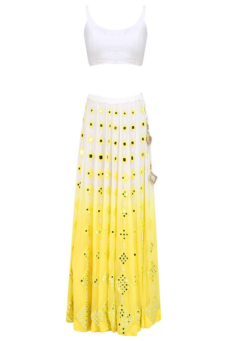 Yellow and white ombre shaded mirror work lehenga set available only at Pernia's Pop Up Shop.