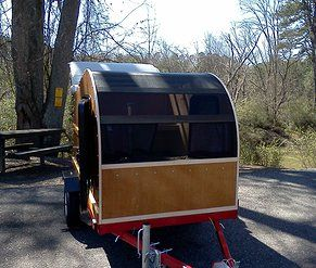 convertible tall teardrop camper - built on a harbor freight foldable trailer