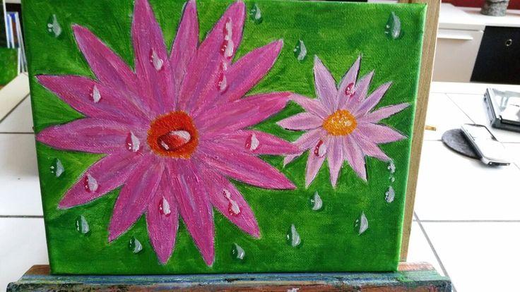 Blumen im Regen. ... mit Acryl gemalt