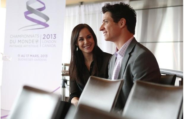 Tessa Virtue and Scott Moir talk following a news conference in Toronto on Monday January 21, 2013 in which Skate Canada announced the first members of their team which will compete in the upcoming 2013 ISU World Figure Skating Championships in London, ON.