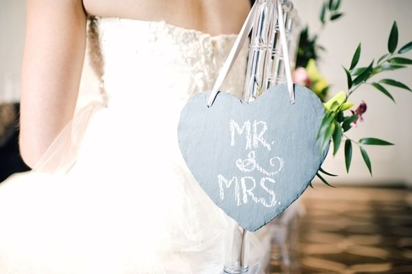 a sweet chalkboard sign Event Design & Planning: Lé Soirées Weddings & Events - lesoirees.com Photography: Vasia Photography - vasia-weddings.com/
