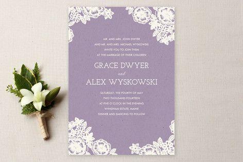 Lace and Kraft Wedding Invitations by Katharine Wa... | Minted