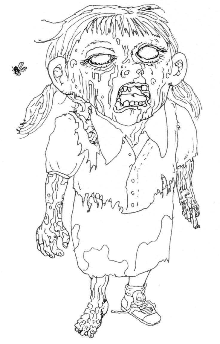 The zombie apocalypse coloring book - Girl Zombie Coloring Page