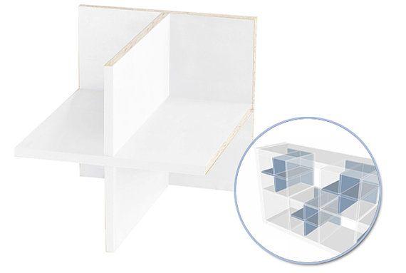 Verdelers van de plank (4 delen) voor de IKEA Expedit kast / wit