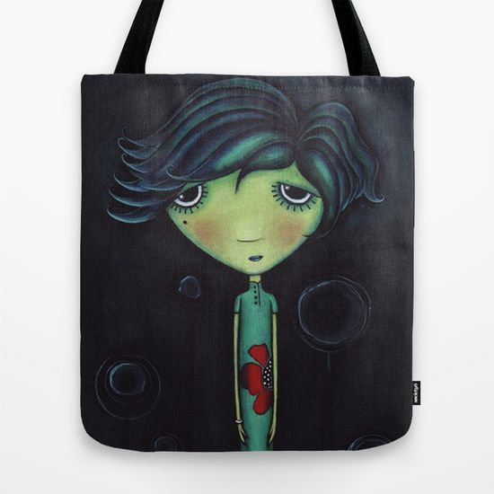 "Purchase Sandra Mucciardi tote bags on Society6!  Quality crafted Tote Bags are hand sewn in America using durable, yet lightweight, poly poplin fabric. All seams and stress points are double stitched for durability. They are washable, feature original artwork on both sides and a sturdy 1"" wide cotton webbing strap for comfortably carrying over your shoulder."