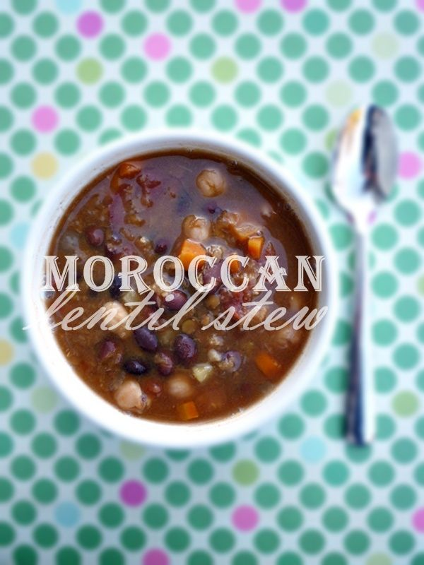 Meatless Monday: Moroccan Lentil Stew (Crock Pot) Made this last night, so yummy I will double it next time! I used dry beans, threw in a potato too (it was left over I didn't know what to do with)...
