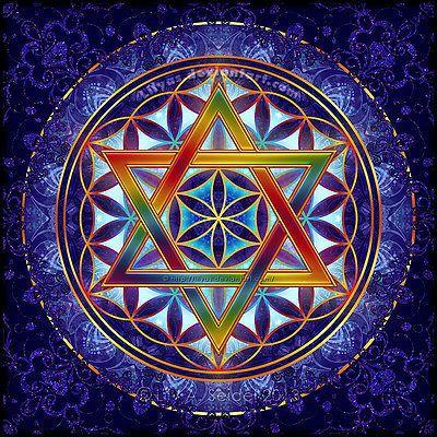 ⊰❁⊱ Mandala ⊰❁⊱  Flor de la Vida con Estrella de David hexagrama de Geometría Sagrada