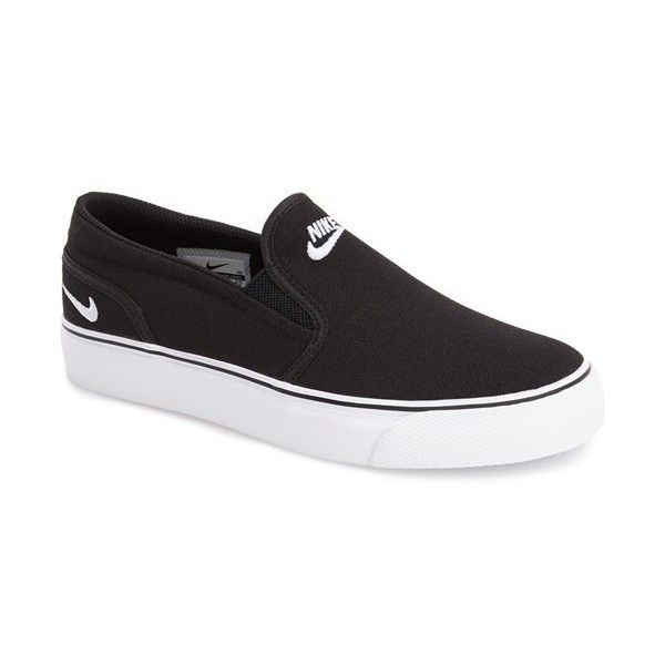 Nike 'Toki' Slip-On Sneaker ($60) ❤ liked on Polyvore featuring shoes, sneakers, pull on shoes, nike shoes, nike sneakers, low shoes and sport shoes