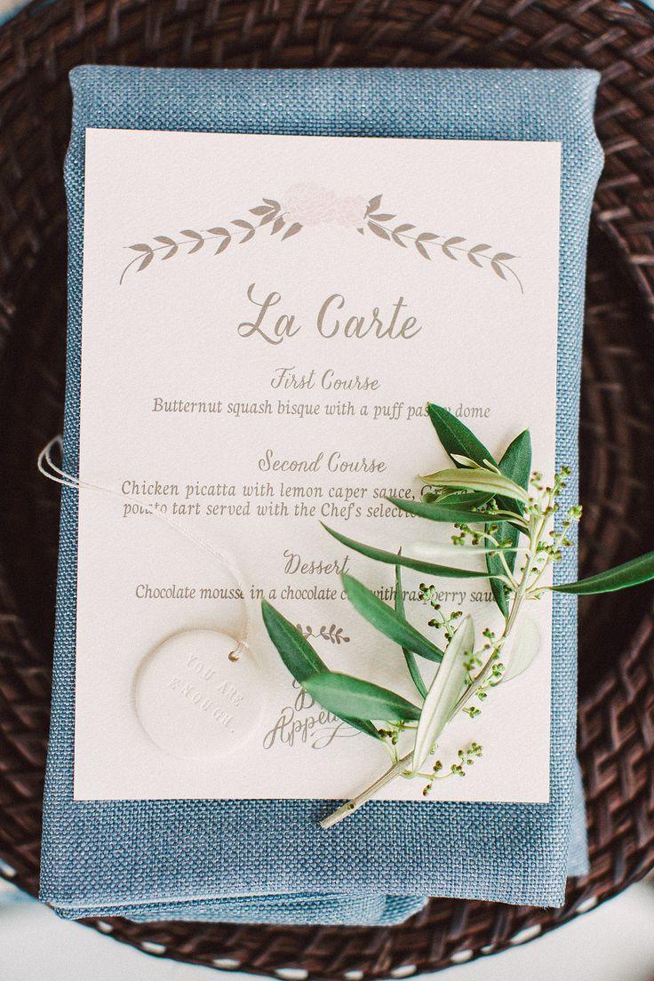 simple elegant menu | token/ornament by Paloma's Nest | bradley james photography | via: style me pretty