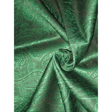 "100% Pure SILK BROCADE FABRIC Green & Black color 44"""