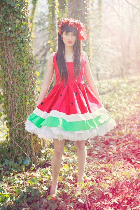 Limited Edition New York Couture WONDERLAND Collection RED Mouth-watering WATERMELON Dress. $135.00, via Etsy.