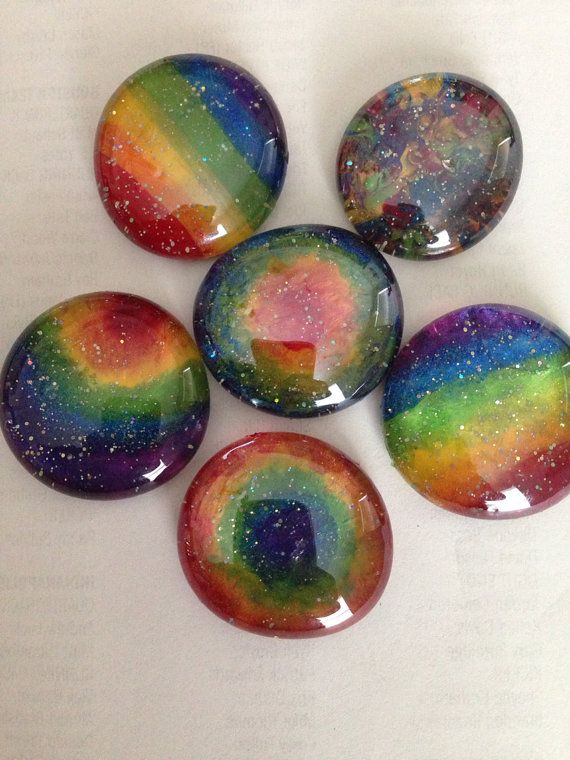 Glitter rainbow glass magnet set. Like jewelry for your fridge on Etsy, $10.00 More