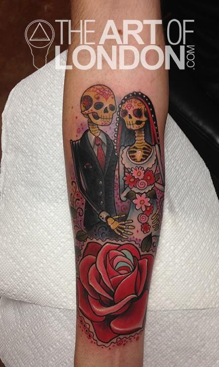 London Reese - Day of the Dead Couple Tattoo