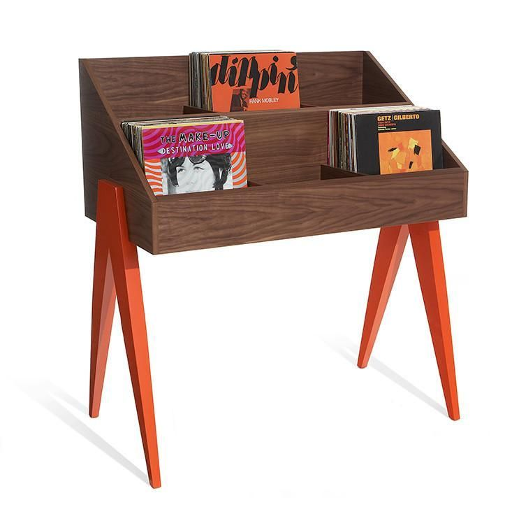 Atocha Design Record Stand In Walnut With Ebonized Walnut Black Legs Record Stand Vinyl Record Racks Record Cabinet