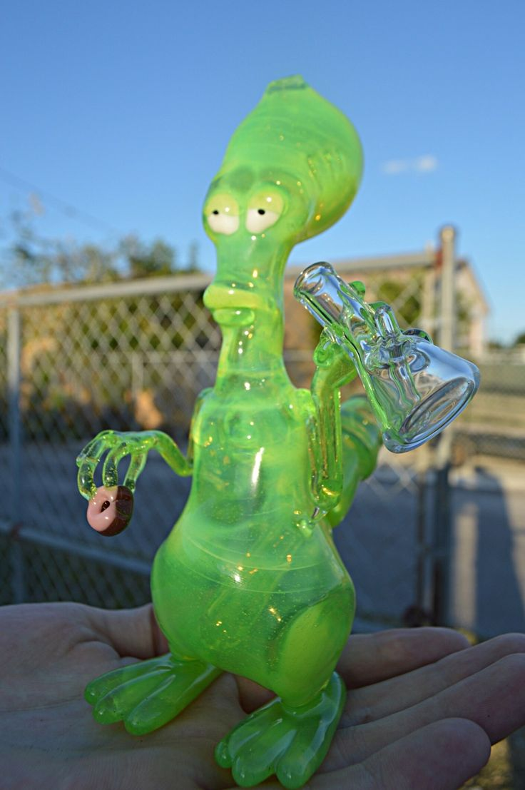 """runtrees: """"full slyme Roger holding a doughnut and a functional microtube by @hyphaeglass """""""