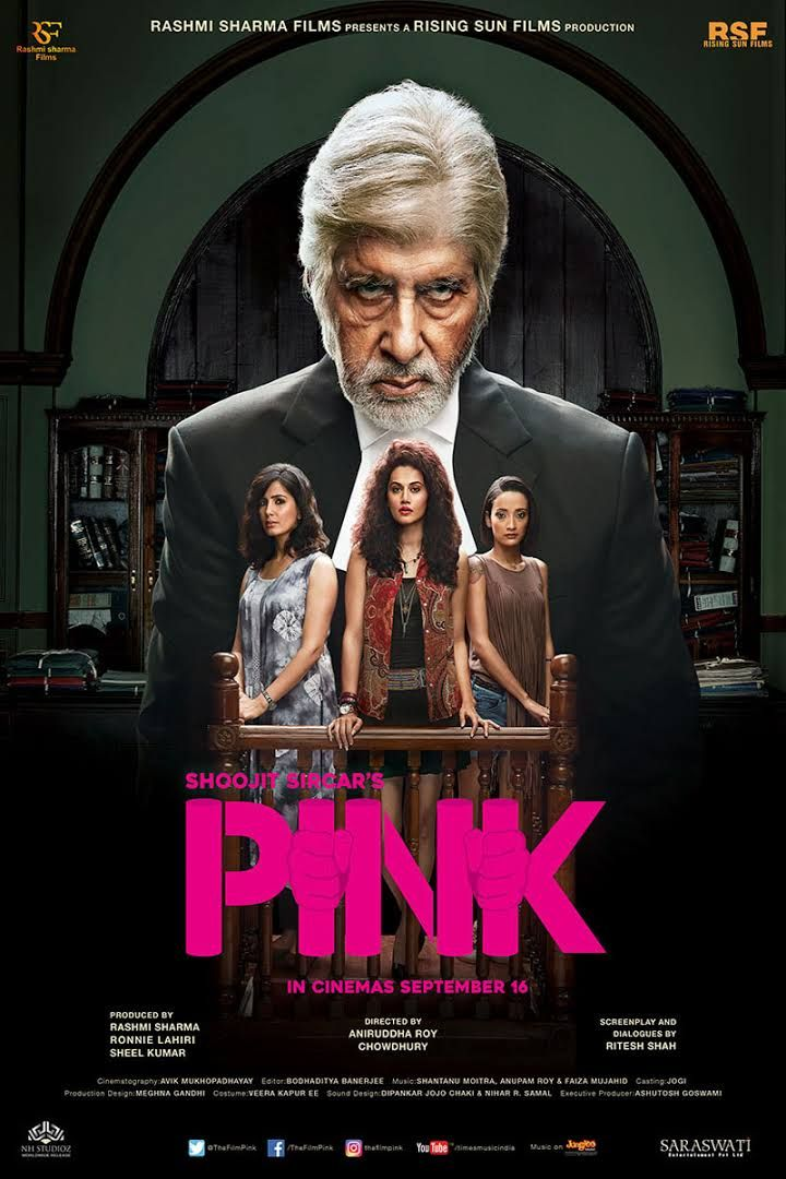 A courtroom drama/thriller that perfectly potrays the feudal mindset of a majority of the country. The character of Deepak, a retired advocate who suffers from bipolar disorder is played majestically by  Amitabh Bachchan with a melancholic melody. The 3 girls give a pitch performance. The movie has its flaws.Yet one can't deny the fact that this movie is certainly an eye opener as it resonates with unfair treatment of  the urban Indian women of today.