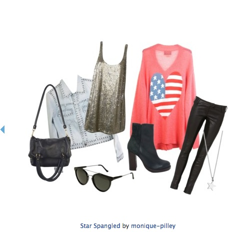 star spangled sweater, sequin dress, black sunnies