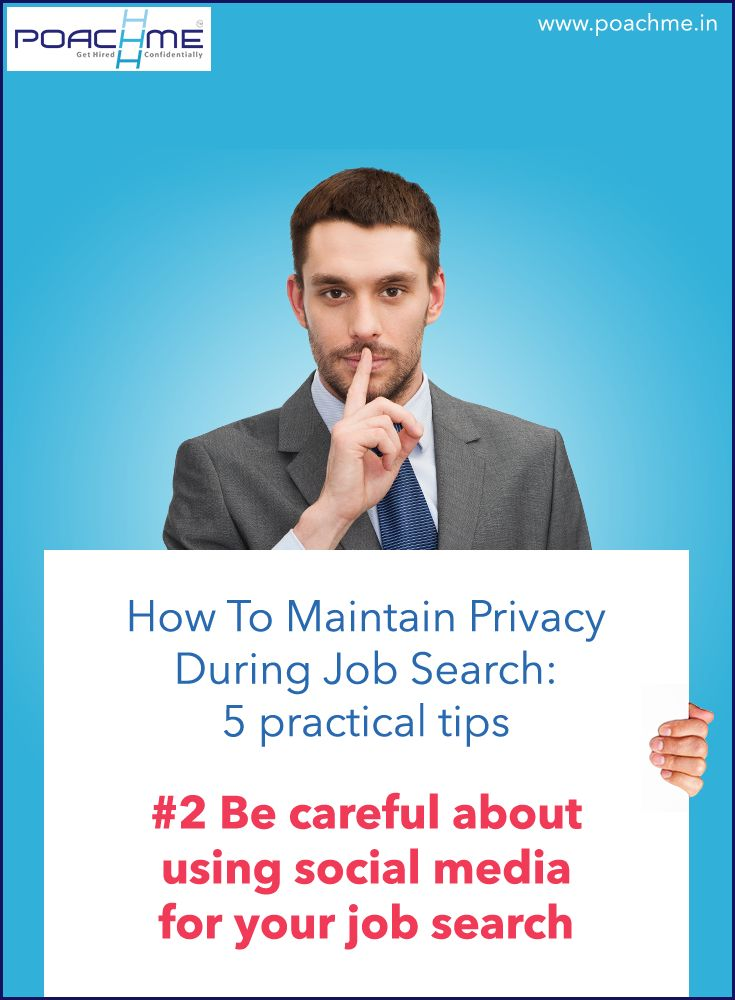 """#2 Be careful about using social media for job search. Read our blog post """"How to maintain privacy while searching for a job: 5 practical tips"""" [Click on the image] #poachmein #jobs #handshake"""