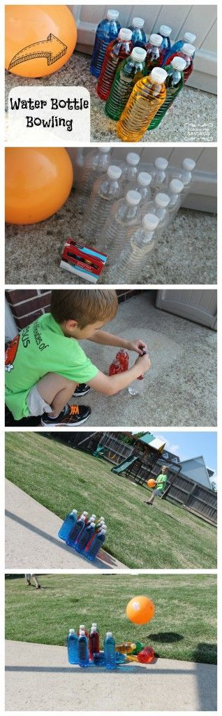 Here is another Summer Idea for your Kiddos that's Super Inexpensive and a Lot of Fun, Plus you can use these Water Bottle Bowling Pins over and over again!