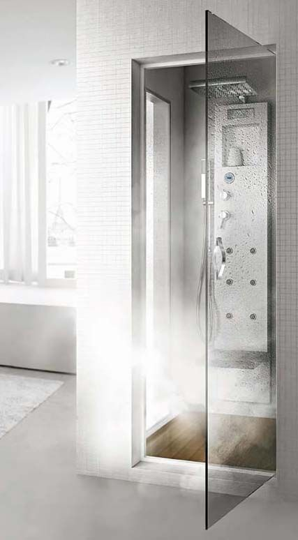 Transform your steam shower into a professional Turkish Bath with the latest shower column from Hafro - the Rigenera 200. Whether you choose to build a separate steam shower cabin (above) or just have a free standing shower enclosures (below), installing the Rigenera column will allow you to establish your own Turkish Bath.