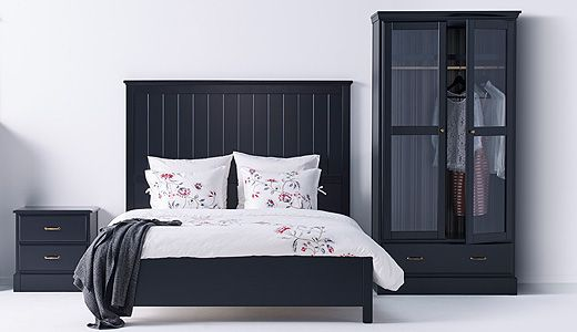Our UNDREDAL black bedroom furniture sets have a high quality feeling. The rustic brass handles on the chest of drawer and glass door wardrobe, plus wooden relief finishes on the headboard of the bed, all add up to a refined, traditional bedroom look.