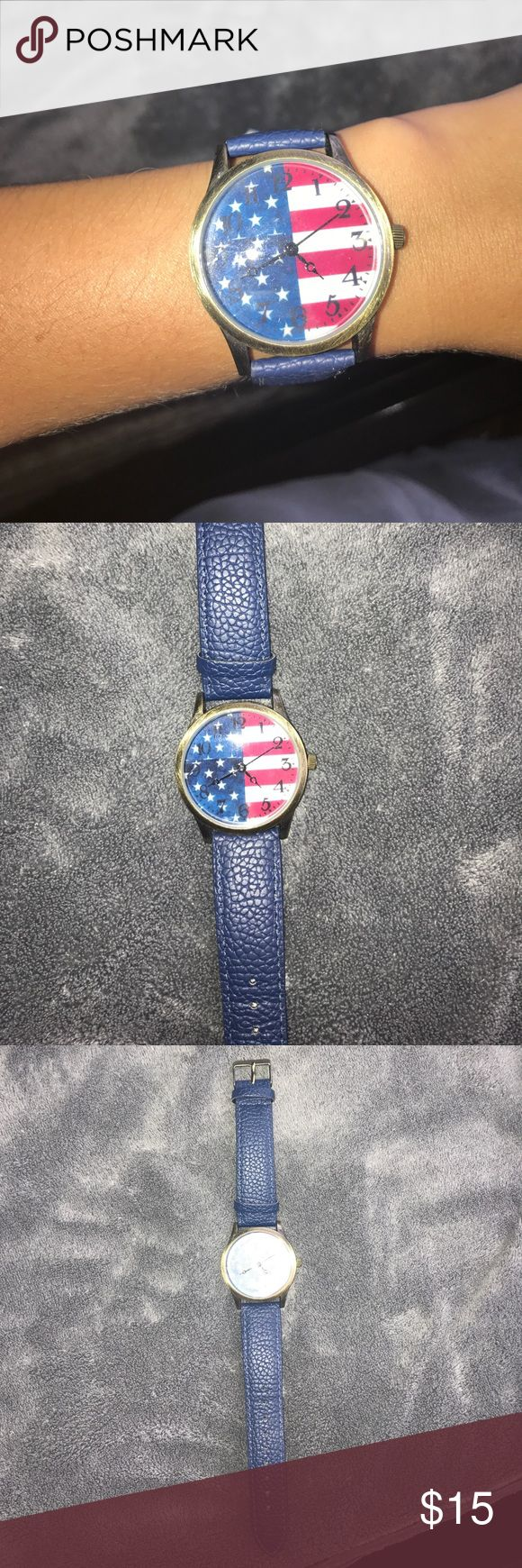 American flag watch Charming Charlie's. American flag face. Blue leather strap. Black arms. Rustic gold accents. Charming Charlie Accessories Watches