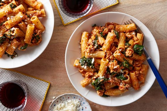 Pasta & Chicken Bolognese with Kale & Parmesan Cheese. Visit https://www.blueapron.com/ to receive the ingredients.
