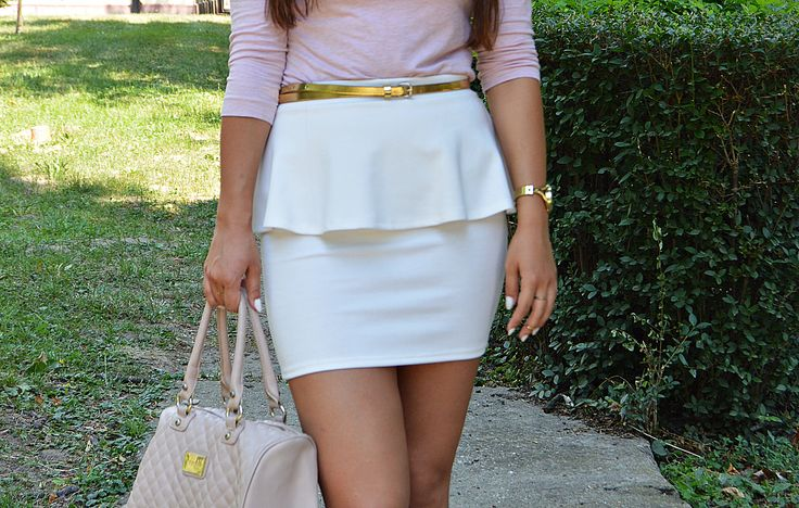 outfit, pastel, peplum skirt, white and pink, gold, summer look blogalinapop.wordpress.com