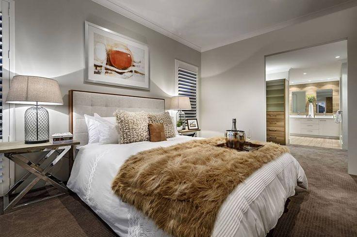 Hálószoba szürke falakkal és padlószőnyeggel