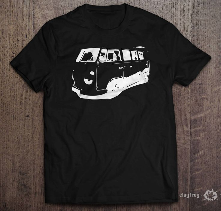 VW Camper Sillhouette / Novelty Themed Mens Black T-Shirt by Clayfrogs on Etsy