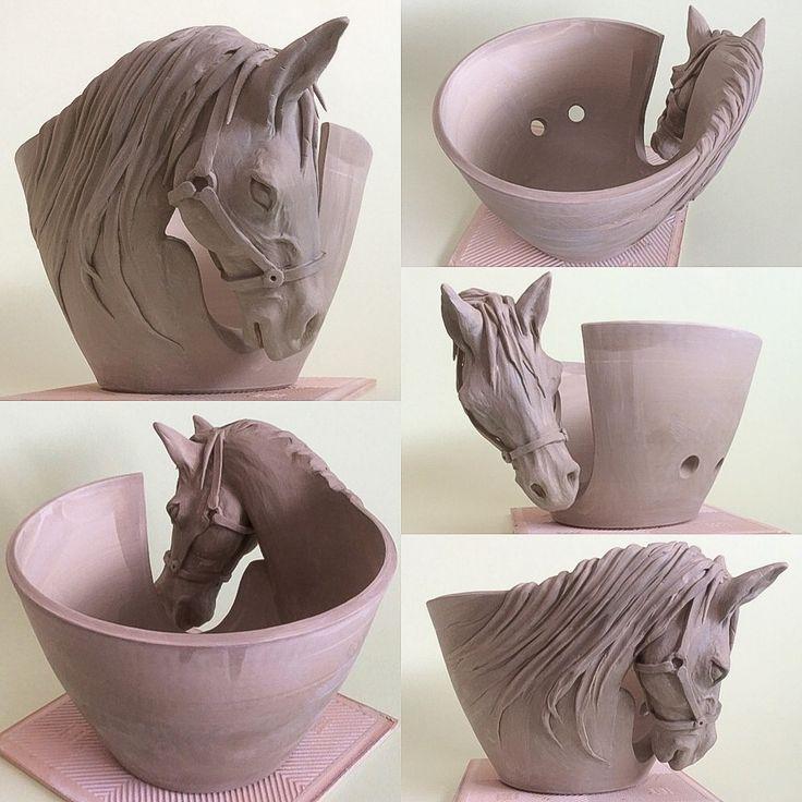 Horse yarn bowl. Unfired earthenware. Hope you all like it so far. :-) earthwoolfire@gmail.com