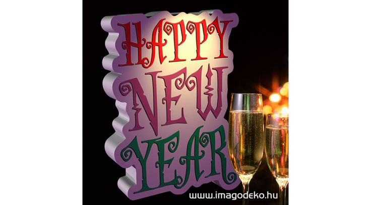 Happy New Year felirat üzlet és otthon dekoráció - Plasztikus dekor - Imágódeko - Otthondekor és üzletdekor