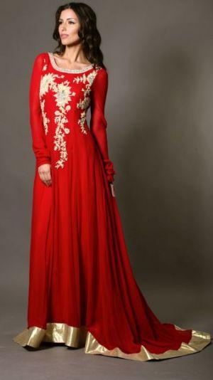 Red and gold chiffon dress